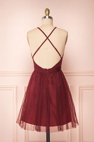 Kamagaya Wine Burgundy Short Mesh A-Line Dress | BACK VIEW | Boutique 1861