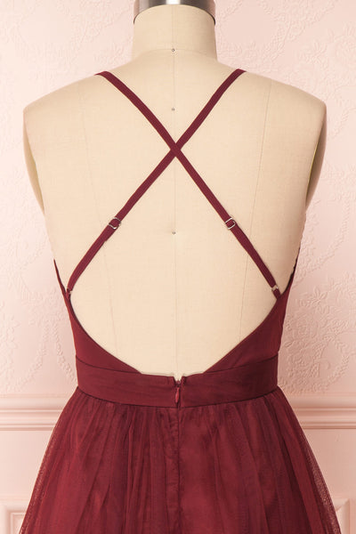 Kamagaya Wine Burgundy Short Mesh A-Line Dress | BACK CLOSE UP | Boutique 1861