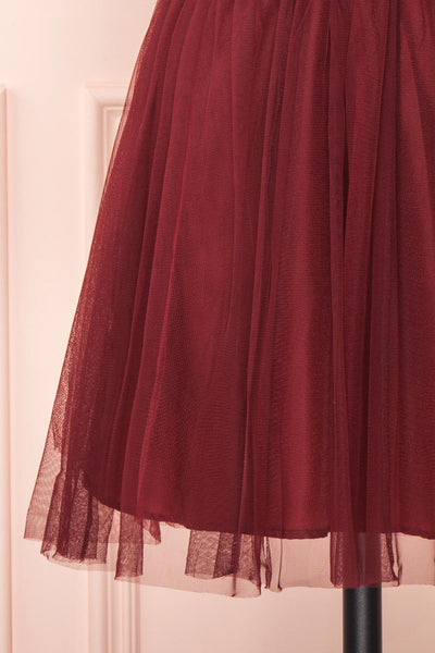 Kamagaya Wine Burgundy Short Mesh A-Line Dress | BOTTOM CLOSE UP | Boutique 1861