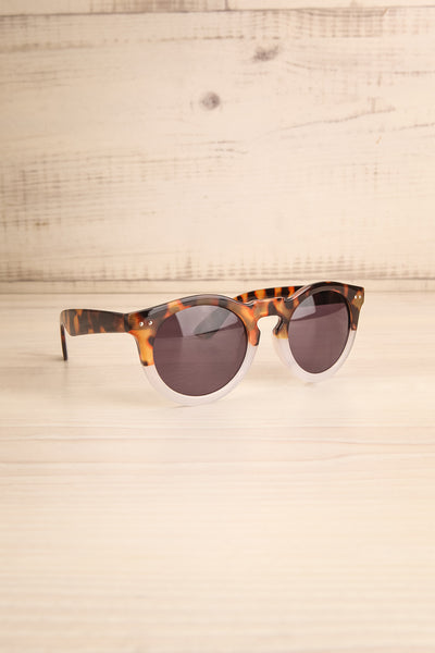 Karilia Clear & Brown Wayfarer Sunglasses side view | La Petite Garçonne