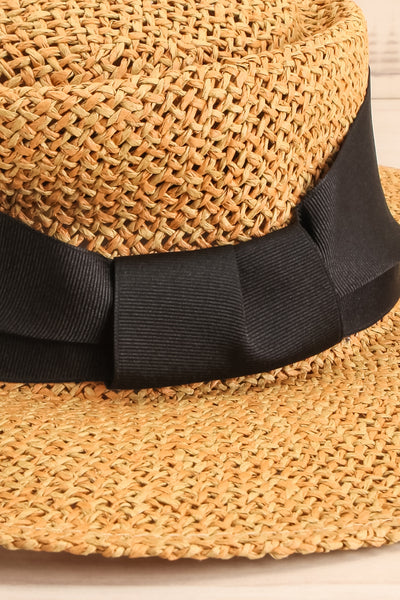 Kastron Tan Wide Brimmed Straw Hat close-up | La Petite Garçonne