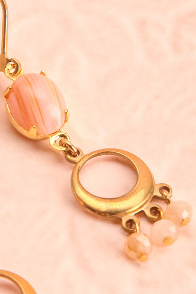 Kathryn Bigelow Gold & Pink Pendant Earrings | Boutique 1861 close-up