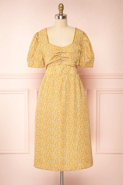 Kathya Yellow Floral Short Sleeve Midi Dress | Boutique 1861 front view
