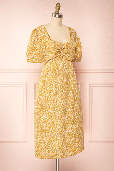 Kathya Yellow Floral Short Sleeve Midi Dress | Boutique 1861 side view