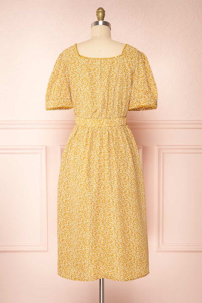 Kathya Yellow Floral Short Sleeve Midi Dress | Boutique 1861 back view