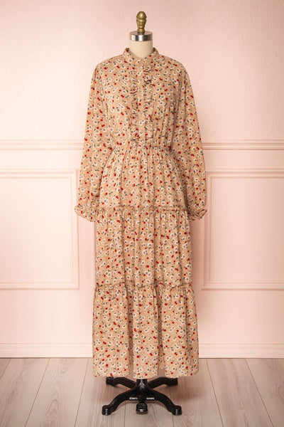 Katya Beige Floral Long Sleeve Maxi Dress | Boutique 1861 front view