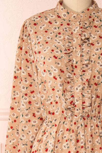 Katya Beige Floral Long Sleeve Maxi Dress | Boutique 1861 front close-up
