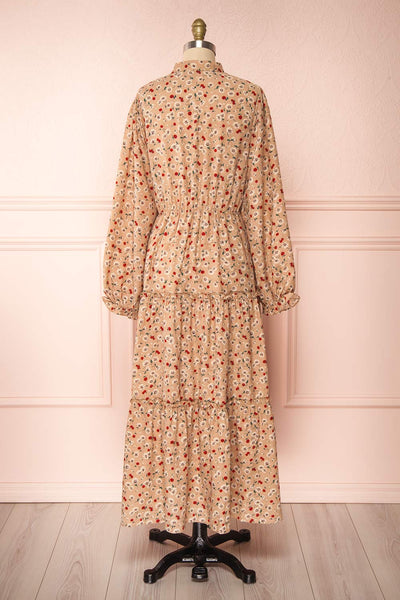 Katya Beige Floral Long Sleeve Maxi Dress | Boutique 1861 back view