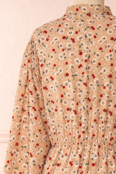 Katya Beige Floral Long Sleeve Maxi Dress | Boutique 1861 back close-up