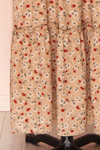 Katya Beige Floral Long Sleeve Maxi Dress | Boutique 1861 bottom