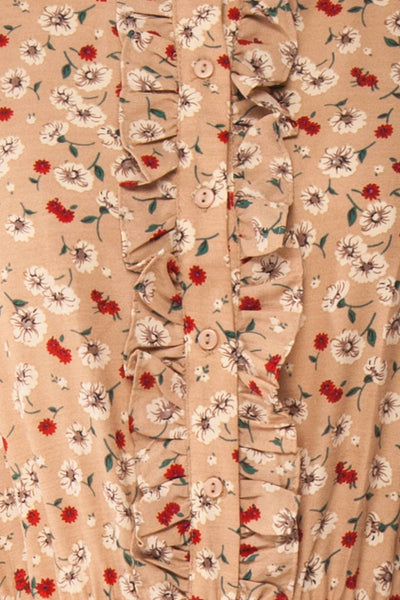 Katya Beige Floral Long Sleeve Maxi Dress | Boutique 1861 fabric
