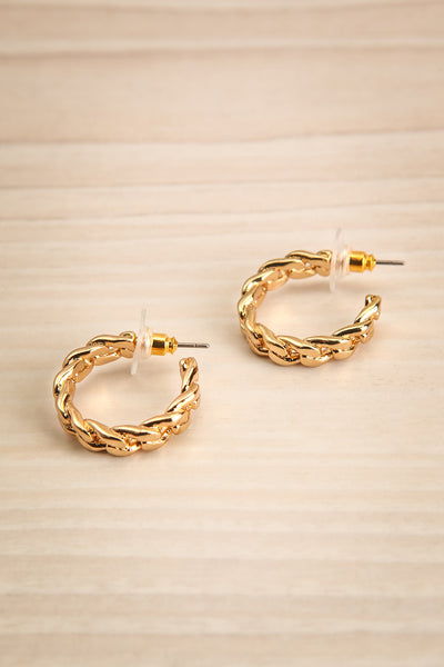 Kauhava Gold Twisted Rope Hoop Earrings | La petite garçonne