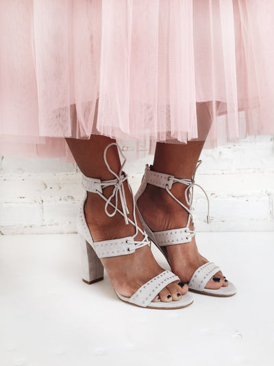 Caldirola Light Grey Strappy Sandals on model | La Petite Garçonne Chpt. 2