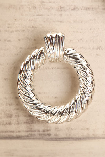 Keiss Argent Silver Twisted Hoop Earrings close-up | La Petite Garçonne