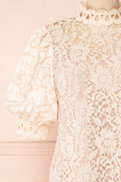 Kenielle Beige Lace Blouse with Stand Collar | Boutique 1861 front close-up