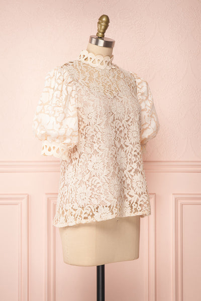 Kenielle Beige Lace Blouse with Stand Collar | Boutique 1861 side view