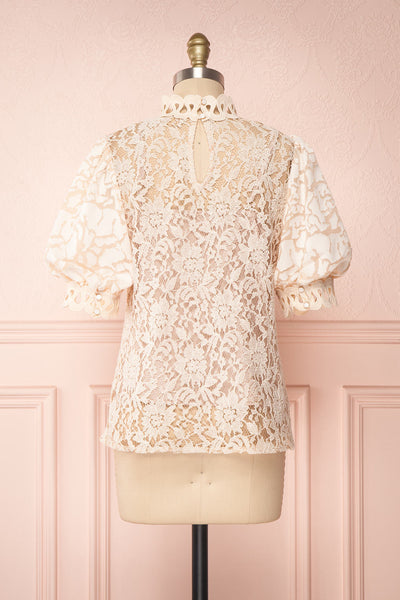 Kenielle Beige Lace Blouse with Stand Collar | Boutique 1861 back view