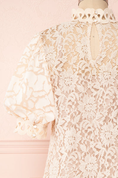 Kenielle Beige Lace Blouse with Stand Collar | Boutique 1861 back close-up