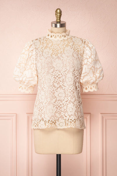 Kenielle Beige Lace Blouse with Stand Collar | Boutique 1861
