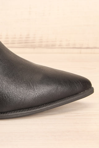 Khalkis Black Western Style Ankle Boots side close-up | La Petite Garçonne