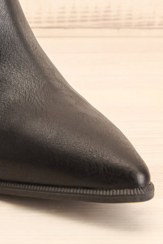 Khalkis Black Western Style Ankle Boots front close-up | La Petite Garçonne