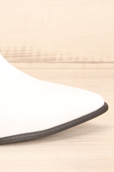 Khalkis White Western Style Ankle Boots side close-up | La Petite Garçonne