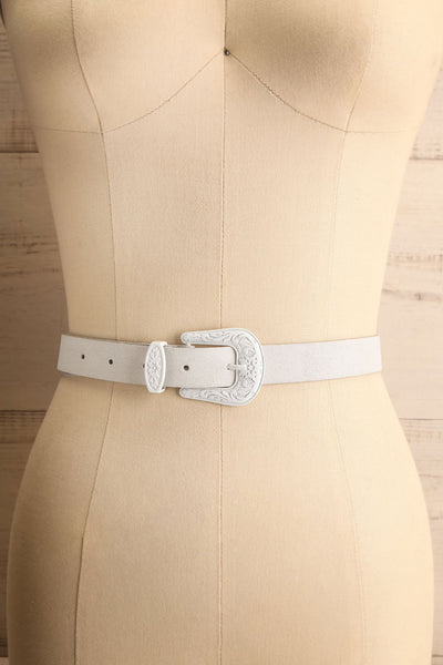 Khavari White Belt with Western-Inspired Buckle | La Petite Garçonne 1