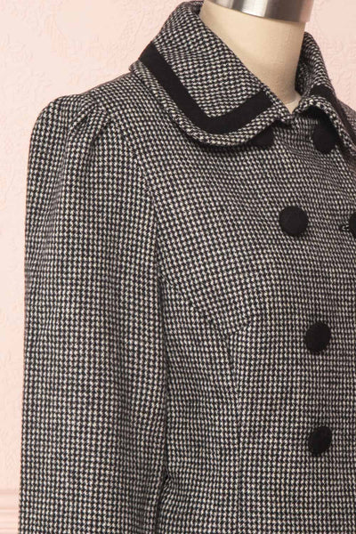 Kherty Black & White Houndstooth Cropped Blazer | Boutique 1861 side close-up