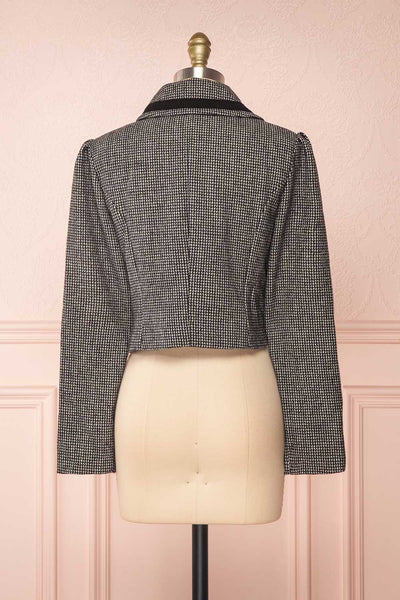 Kherty Black & White Houndstooth Cropped Blazer | Boutique 1861 back view