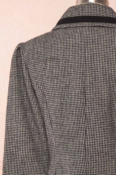 Kherty Black & White Houndstooth Cropped Blazer | Boutique 1861 back close-up