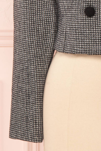 Kherty Black & White Houndstooth Cropped Blazer | Boutique 1861 bottom close-up
