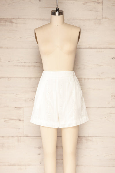 Khori White High-Waisted Embroidered Shorts | La petite garçonne  front view