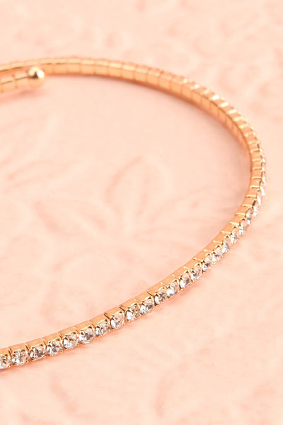 Kiana Gold Arm Bracelet w/ Crystals | Boutique 1861 close-up