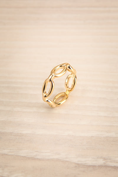 Kietrz Or Fine Chain Links Textured Golden Ring | La Petite Garçonne