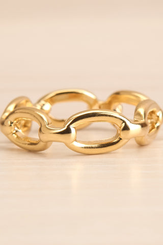 Kietrz Or Fine Chain Links Textured Golden Ring flat close-up | La Petite Garçonne