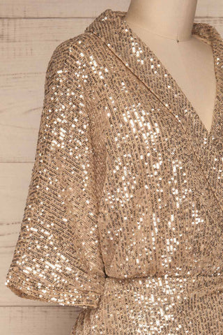 Kilme Or Champagne Romper | Combishort | La Petite Garçonne side close-up