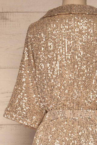 Kilme Or Champagne Romper | Combishort | La Petite Garçonne back close-up