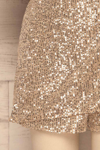 Kilme Or Champagne Romper | Combishort | La Petite Garçonne bottom close-up