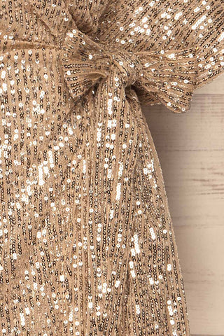 Kilme Or Champagne Romper | Combishort | La Petite Garçonne bow close-up