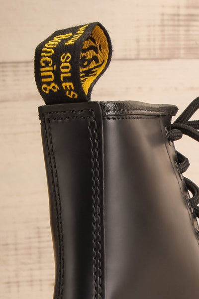 Kirkbride Leather Black Dr. Martens Boots back logo close-up | La Petite Garçonne