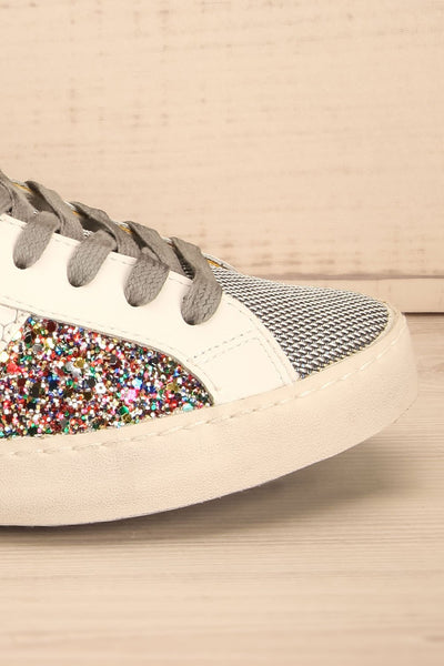 Kissamos - Colourful sequins laced high-top sneakers side front close-up