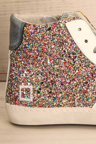Kissamos - Colourful sequins laced high-top sneakers side back close-up