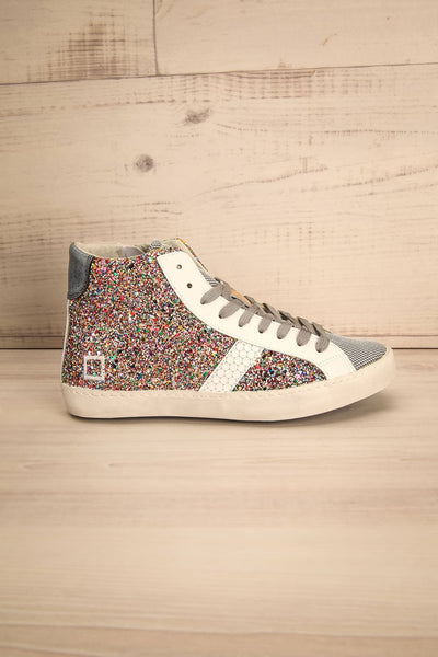 Kissamos - Colourful sequins laced high-top sneakers side view