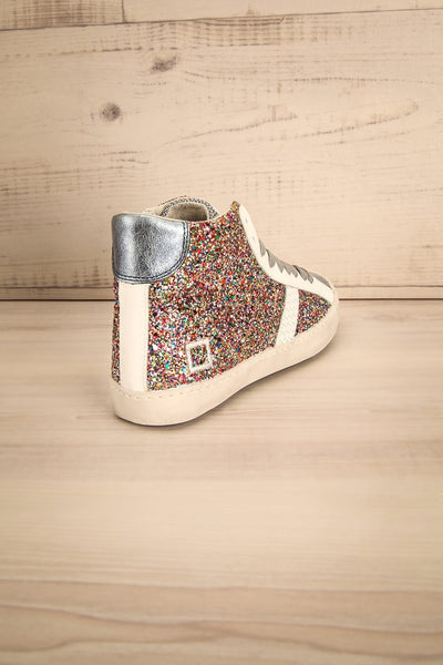Kissamos - Colourful sequins laced high-top sneakers back  view