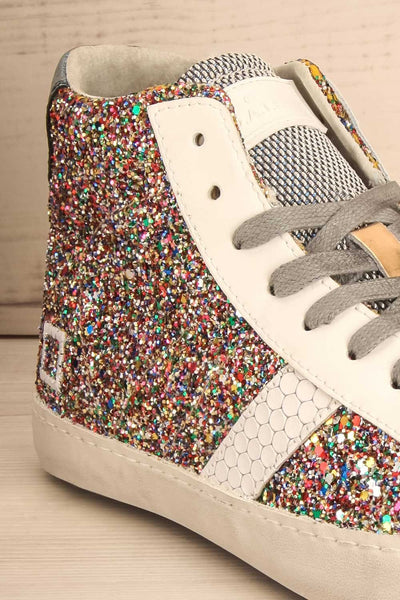 Kissamos - Colourful sequins laced high-top sneakers front close-up