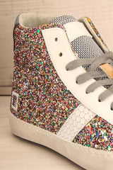 Kissamos - Colourful sequins laced high-top sneakers