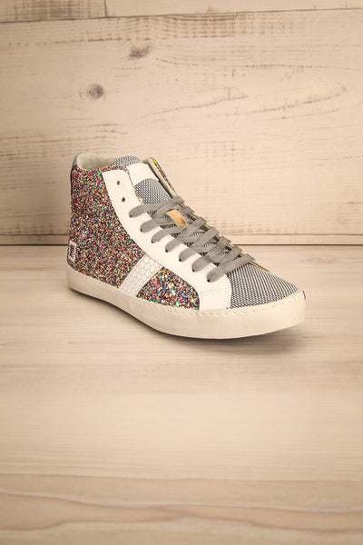 Kissamos - Colourful sequins laced high-top sneakers front view
