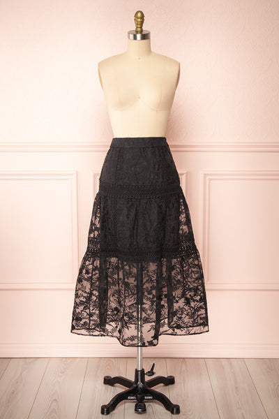 Knauttia Black Floral Embroidered Mesh Skirt | Boutique 1861 front view