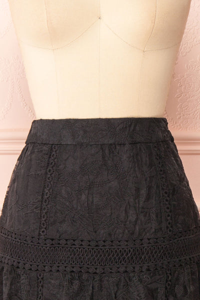 Knauttia Black Floral Embroidered Mesh Skirt | Boutique 1861 front close-up