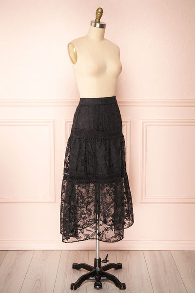 Knauttia Black Floral Embroidered Mesh Skirt | Boutique 1861 side view